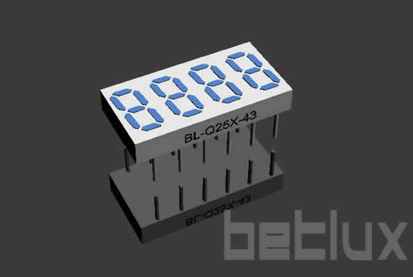 seven segment LED display 0.25inch four digit